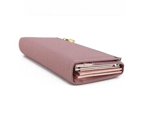 aolevia l gant rose clair porte monnaie femme en imitation cuir portefeuille avec un bouton. Black Bedroom Furniture Sets. Home Design Ideas