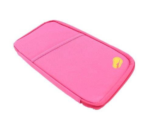 Aolevia-1pc-Multifonctionnel-Sac-de-Voyage-Trousse-de-Rangement-Portefeuille-Parfait-pour-Téléphone-PortableMonnaieCarte-didentité-Carte-VISAChèque-Rose-0