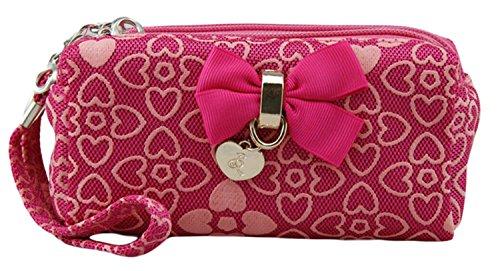 Aolevia-Chouette-Portefeuille-Femme-Fille-en-Canvas-Porte-Monnaie-avec-Papillon-Idéal-pour-Téléphone-Portable-Rose-0