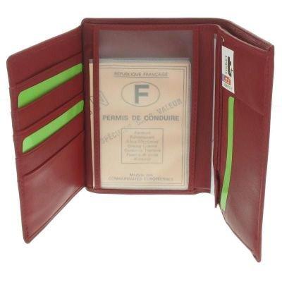 b478180ff8d0b Fancil – Portefeuille femme en cuir 3 volets rouge foncé ...