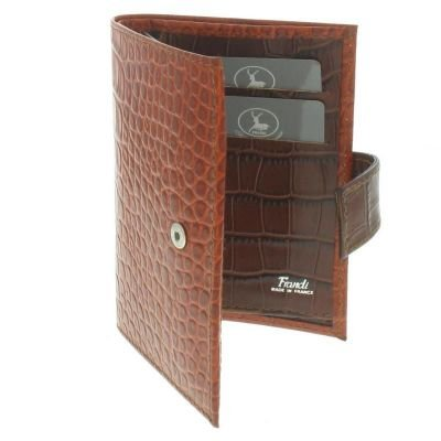 Frandi En Orange Cuir Aspect Et Vert – Portefeuille Marron Croco ZukXiP