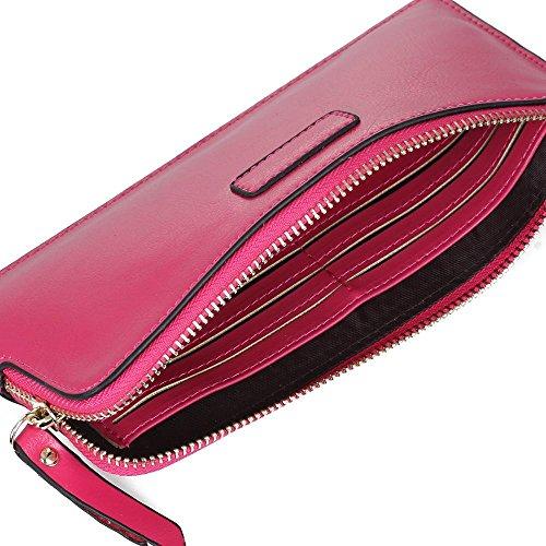 portefeuille pochette en cuir v ritable fuchsia zipp portefeuille femme part 15. Black Bedroom Furniture Sets. Home Design Ideas