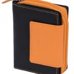 Portefeuille-avec-compartiment--fermeture-clair-LEAS-cuir-vritable-noir-orange-LEAS-Zipper-Collection-0